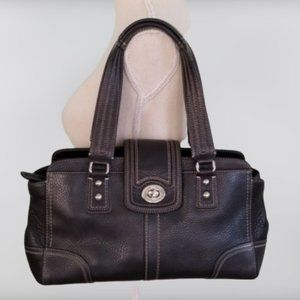 Coach Black Pebble Leather Satchel Bag